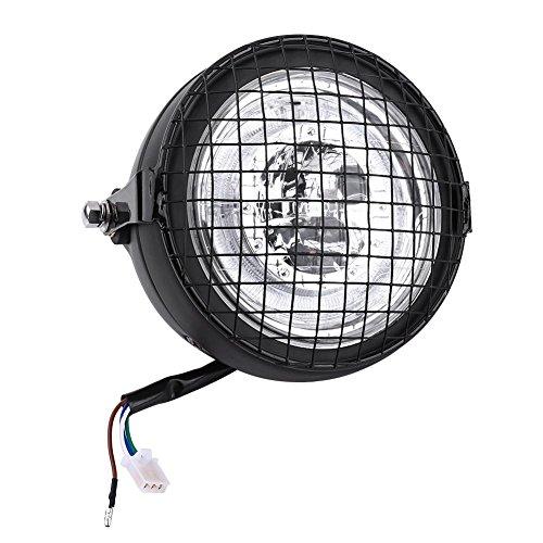 Faro a LED per moto, 6.5'Universal Motorcycle High Brightness Fari a LED Proiettore con griglia metallica Coperchio di montaggio laterale e staffa