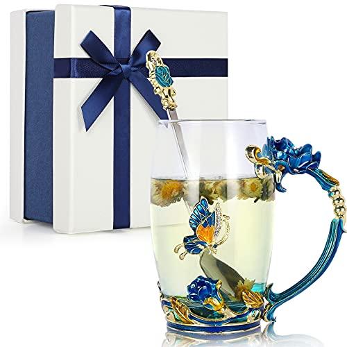 Taza de Café de Cristal Esmalte Hecha a Mano Taza de Té de Flores de Mariposa, Originales Mujers Cajas Regalos Set, Mama Esposa Hermana Amigos Cumpleaños Madre Regalo de San Valentín (Cielo Azul)