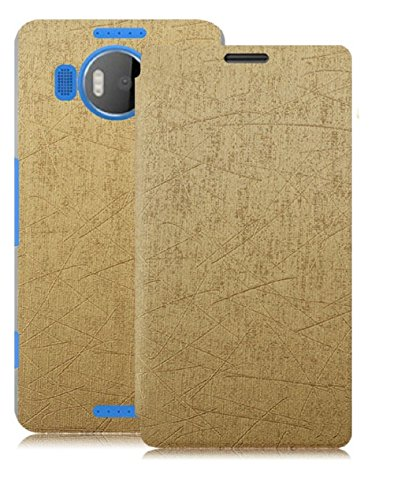 Heartly Premium Luxury PU Leather Flip Stand Back Case Cover for Microsoft Lumia 950 XL/Lumia 950XL - Gold
