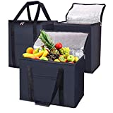 Reusable Grocery Bags Foldable Durable Insulated 3 Pack Shopping Bags With Sturdy Zippered Washable Hot and Cold Transport Soft Cooler Large Size Tote Bag For Frozen Foods (1X-Large +2Medium, Black)