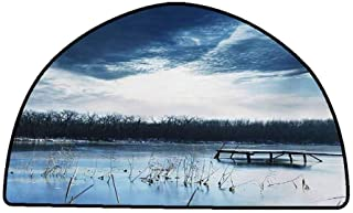 Floor Mat Kitchen Long Carpet Winter,Landscape Scenery of Mountain Lake with a Frozen Bay Sunset,Slate Blue White and Purple Grey,W31 x L20 Half Round Bathroom mats and Rugs