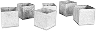 Koyal Wholesale Galvanized Zinc, Farmhouse, Gray Metal Containers for Wedding, Rustic Planters, Succulent Flower Pots, French Galvanized Décor, Waterproof (5 x 5-Inch)