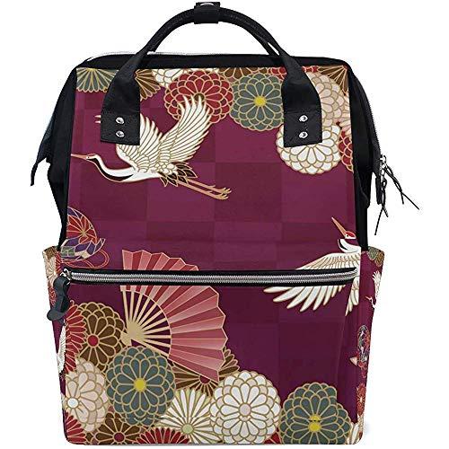Daypack Japanse Kraan Bloem Luier Rugzak Grote Capaciteit Unisex Reizen Casual Baby Tassen Rits Multi-Functie Rugzakken Papa Moeder 28X18X40Cm
