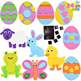 24 Pcs Foam Easter Animals and Egg Magnet Craft Kit - Crafts for Kids and Fun Home Activities