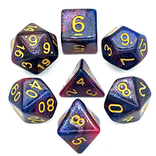 cusdie Polyhedral Dice Sets DND Acrylic Galaxy Dice for Dungeons and Dragons Pathfinder RPG MTG Table Gaming Dice(Blue&Purple)