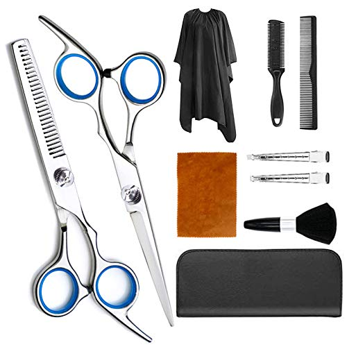 POUMANNI Hair Cutting Scissors, Hairdressing Shears Thinning Scissors Stainless Steel Hair Cutting Shears Set with Cape Clips Comb for Barber Salon and Home 10 PCS