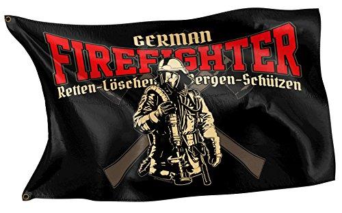RAHMENLOS Original Design-Flagge: Deutschland-Fahne German Firefighter für die Feuerwehr