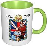 Taza con diseño de monarca de Reino Unido, diseño de la Reina Elizabeth II y el príncipe Philip,