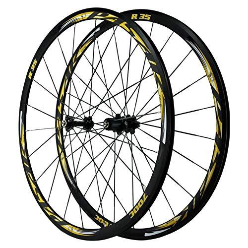 SJHFG 700C Ruedas para Bicicleta,Llanta MTB de Doble Pared Cuatro Rodamientos Liberación Rápida Volante de 7-12 Velocidades Bicicleta de Carretera Ruedas (Color : Yellow)