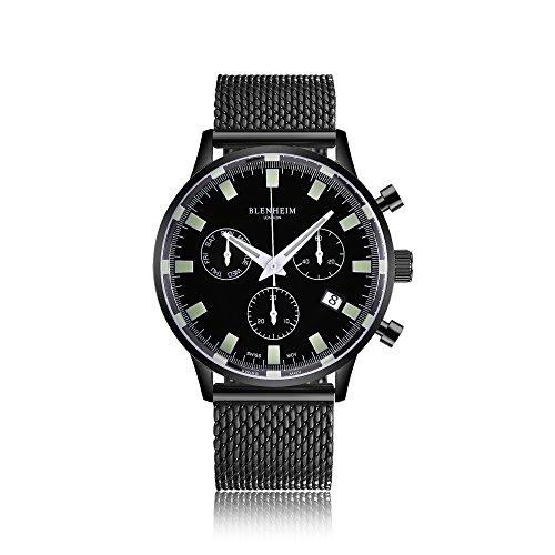 Blenheim London® Chronomaster nero, orologio con quadrante con cassa nera metallizzata e cinturino in acciaio INOX