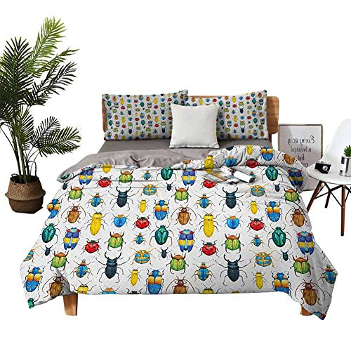 DRAGON VINES 4 bedding cover set Flat Bed Sheet Pillowcase duvet set Colorful Insects with Brush Strokes Effect Various Kinds of Bugs Illustration Multicolor Man and woman W104 xL90