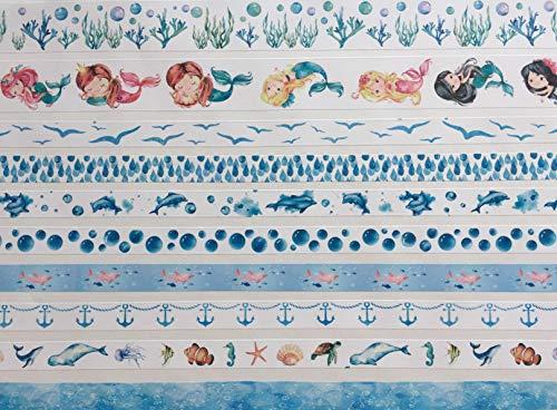 10 Rollen Washi Tape Set - Watercolor Meerjungfrauen - Nixen Wasserpflanzen Delfine Wale Fische Anker Seepferdchen Seestern Quallen Wasser Vögel Schwalben Wassernixen maritim – einfach wunderschön ;-)