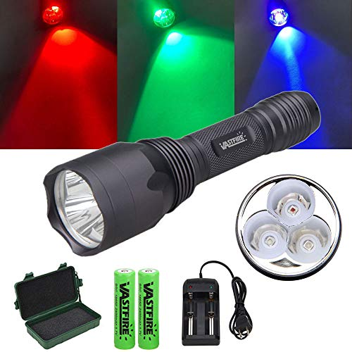 VASTFIRE Red Green UV Blood Trailing Flashlight CREE LED Hunting Light with 18650 Battery for Night Vision Camping Fishing Hog Coyotes Predator Deer Wild Game Night Hunting