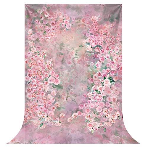 Allenjoy 1,5 x 2,1 m tela suave rosa acuarela flor de fondo para fotografía fondo floral vertical Banner cumpleaños Photo Cabina de estudio Props