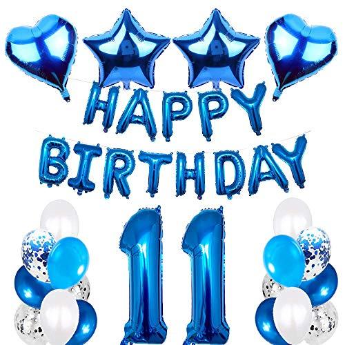 SNOWZAN 11.geburtstags deko junge Geburtstagsdeko Blau Jungen folienballon buchstaben blau geburtstag luftballon Blau Ballon Geburtstag Blau Happy Birthday Girlande Geburtstag Deko für Mädchen Jungen