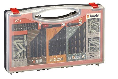 kwb DIY-Werkzeug-Set 132 teilig 423000 (Steinbohrer, Holzbohrer, Metallbohrer, Bits und Bithalter, Senker, Dübel), Stück