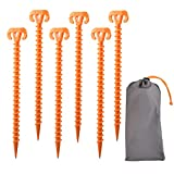 11-Inch Outdoor Tent Stakes, 6 Pack Spiral Plastic Tent Piles, Heavy Ground Anchors, for Beach Mud Tent Nails-Camping, Backpack, Garden Lawn Pile, Heavy Spiral, Orange