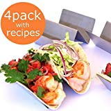 Taco Holder - Taco Holders - Taco Stand - Taco Tray - Taco Rack - Stainless Steel Taco Holder (Holds 2 Tacos - 4 Pack)