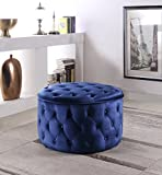 Iconic Home Batya Ottoman Button Tufted Velvet Upholstered Round Pouf Modern Contemporary, Navy