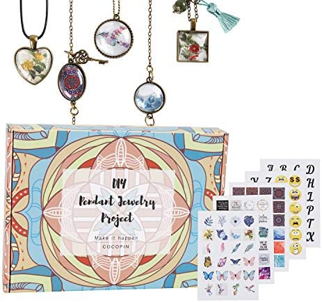 Glass Stone Art Craft Kit Necklace Pendant and Bracelet Jewelry Making Supplies Includes Silver product image