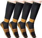 4 Paar Melerio Kompressionsstrümpfe Herren Sport Kompression Socken Stützstrümpfe Damen für Sport/Joggen/Krankenschwestern/Flüge/Reisen/Schwangerschaft/Medizinische
