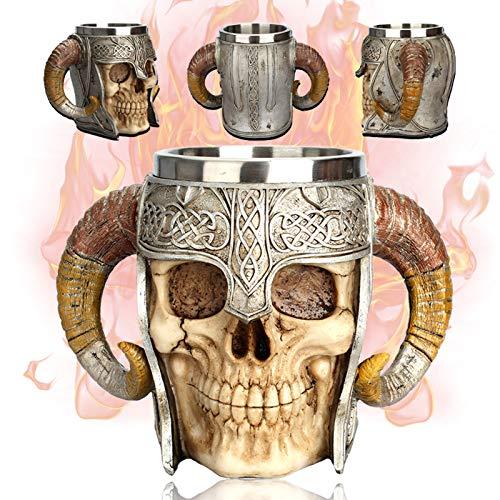 Creativo Jarra de Cerveza,Taza de cerveza de calavera con doble asa de acero inoxidable, jarra de la taza del cráneo del guerrero vikingo, taza de bebida medieval del cráneo para café/bebida/jugo