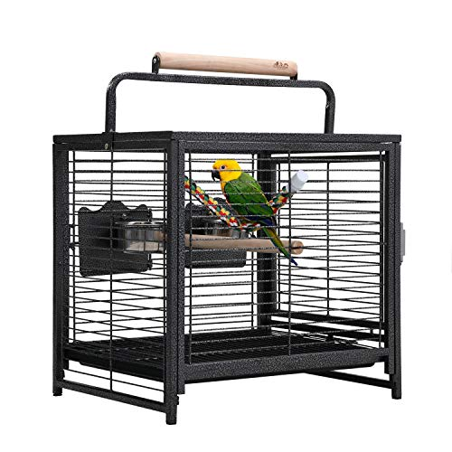 COZIWOW Portable Medium Small Bird Carrier Travel Cage Stainless Steel Conure Cage for Parrot Canary