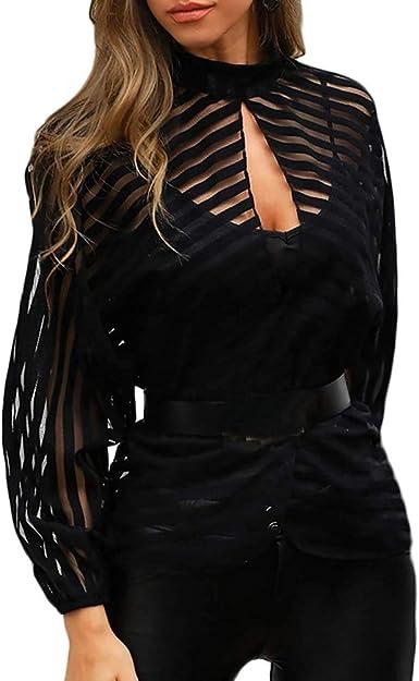 Blusa Mujer Transparente con Rayas Blusa Negra Transparente Top Mujer Camiseta sin Botones Camisa Moderna Manga Larga Transparente