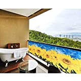 Protección Visual Pantalla Opaca Antracita balcón privacidad con Ojales Cuerdas Girasol 90x500cm