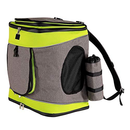 lionto by dibea Hunderucksack Hundetransporttasche Haustiertragetasche Farbe grau/grün