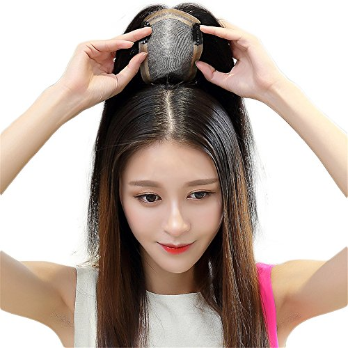 Off Black Human Hair Clip in Toppers Free Part Crown Topper Silk Base Wiglet Hairpieces for Thin Hair 40cm (13x15cm Silk Base)