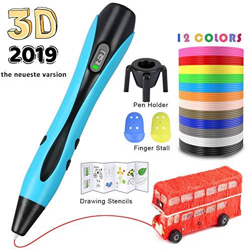 HQKJ 3D Penna Stampa di Disegno a Penna per Bambini Adulti con 12 Colori a 120 Piedi Penna a Penna Professionale 3D a filamento di PLA con Display LCD e Modello a Forma di Razzo