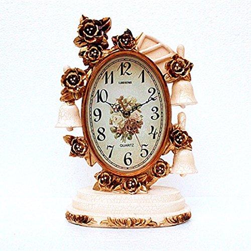 CNBBGJ Réveil, imitation mute rétro décoration salon chambre à coucher, réveil, salle de séjour luxe classique horloge de table,B