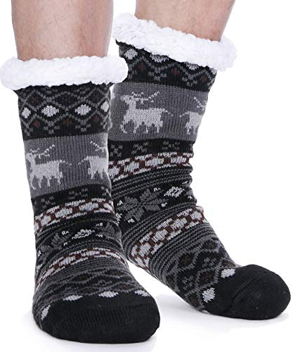 EBMORE Mens Slipper Fuzzy Socks Fluffy Winter Cabin Cozy Warm Soft Fleece Thick Comfy Christmas Gift Stocking Stuffers with Grips(Black Deer)