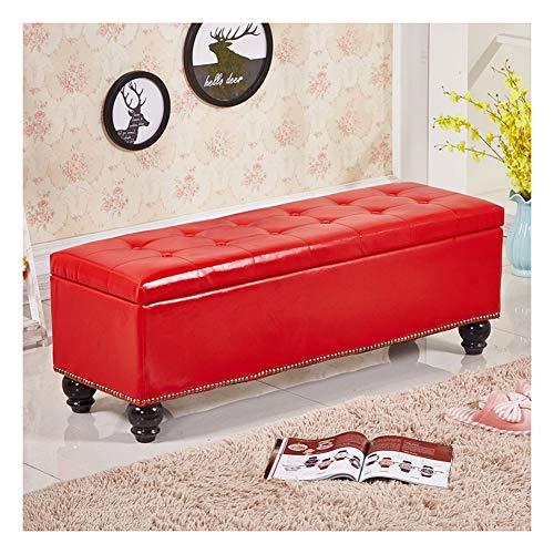 RKRLJX Baúl Puff Taburete Arcón Asiento Puf Ordenación Caja De Almacenaje reposapiés otomano (Color : Red, Size : 60x40x40cm)