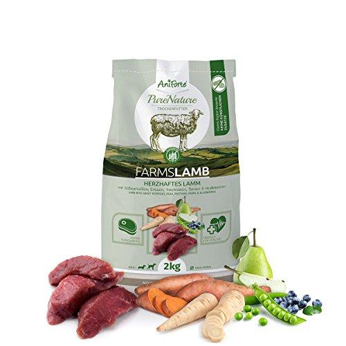 AniForte Natürliches Hunde-Futter Trockenfutter Farms-Lamb 2kg, Herzhaftes Lamm mit Süßkartoffeln, 100% Natur, Allergiker, Getreide-Frei, Glutenfrei, Ohne Chemie, künstliche Zusätze und Vitamine
