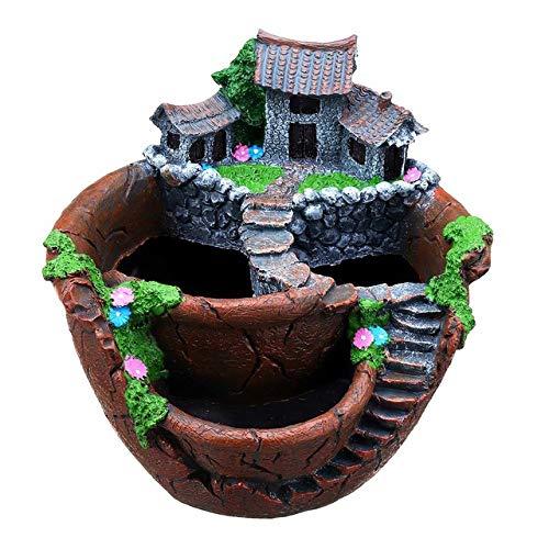 KMYX Plantes Succulentes Planteur Flowerpot résine Pot de Fleurs de Bureau Porte-Pot Jardin Décoration Plantes Porte créatif personnalité Paysage Plantation d'intérieur Pierre Brute Pot de Fleurs