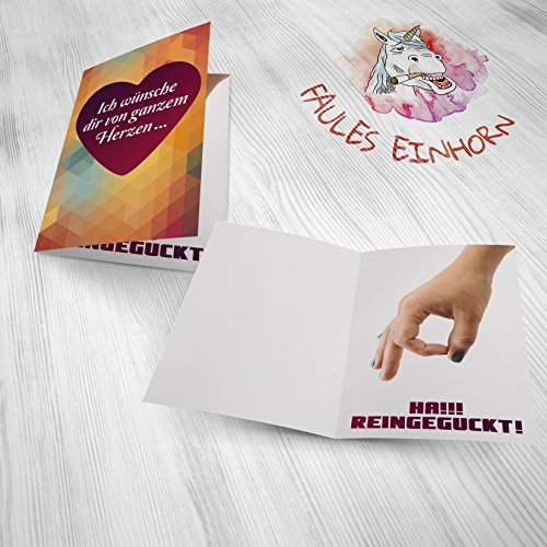 Weihnachtskarten von Faules Einhorn© hochwertiges 300g Papier Grußkarte für Geburtstag / Weihnachten inklusive hochwertigem Umschlag - 2