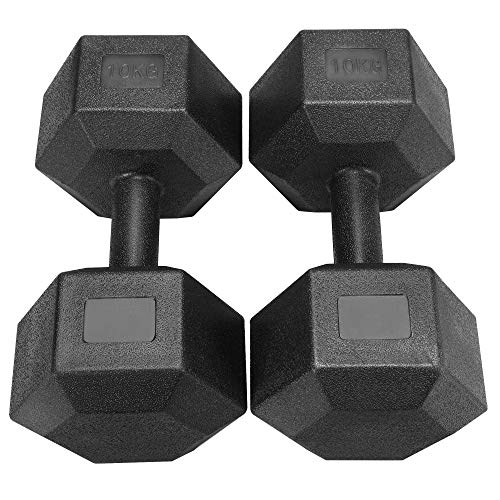 Yaheetech 2x10kg (Sold in Pair) Dumbbells Set Arm Hand Weight Dumbbell Hexagon...