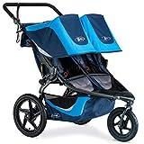 BOB Revolution Flex 3.0 Duallie Jogging Stroller - Up to 100 Pounds - UPF 50+ Canopy - Adjustable Handlebar - Easy Fold, Glacier Blue