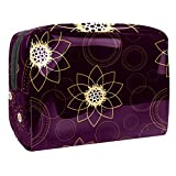 Cosmetic Bag for Women,Roomy Makeup Bags,Mandala Flower Retro Art Purple,Travel Waterproof Toiletry Bag Accessories Organizer