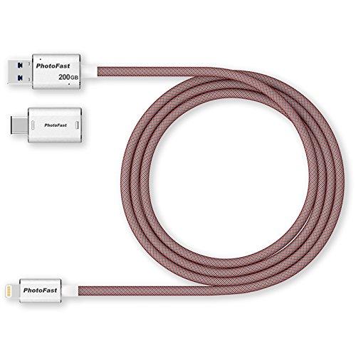 PhotoFast 73164 Memory Cable 3G laad-/datakabel en externe USB 3.1 opslag voor Apple iPhone, iPad inclusief USB-C en microUSB-adapter, 1m zilver/rood