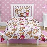 Juego de ropa de cama con diseño de oso de peluche, color rosa, con corazones y funda de almohada para cuna y cama de bebé 100% algodón rosa Pink, grey Talla:120x150 cm