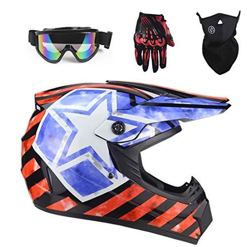 XIUJC Fashion Cross-Country Motorcycle Helmet, Motocross Downhill Fullface Off-Road Mountain Helmets Riding Electric Bike Helmet for Crossbike Sports Youth Children Bicycle Helmet