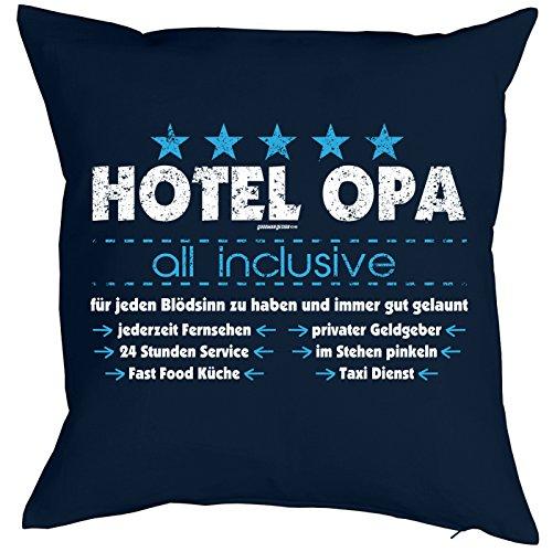 Goodman Design ® Opa Kissen Hotel Opa - All Inclusive Geburtstagsgeschenk Großvater Polster Sofakissen mit Füllung