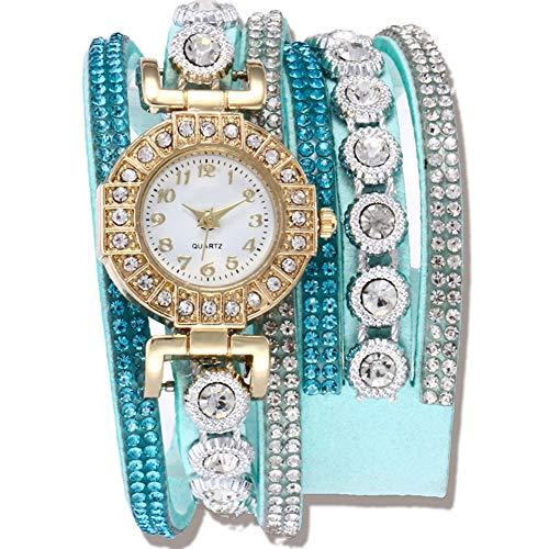 YP Reloj para Dama de Cuarzo con Banda Trenzada con Diamantes,Reloj de Mujer Cristal de Cuarzo Pulsera para Cuero Rhinestone Reloj de Moda,Cierre Simple Plegable,Lake Blue