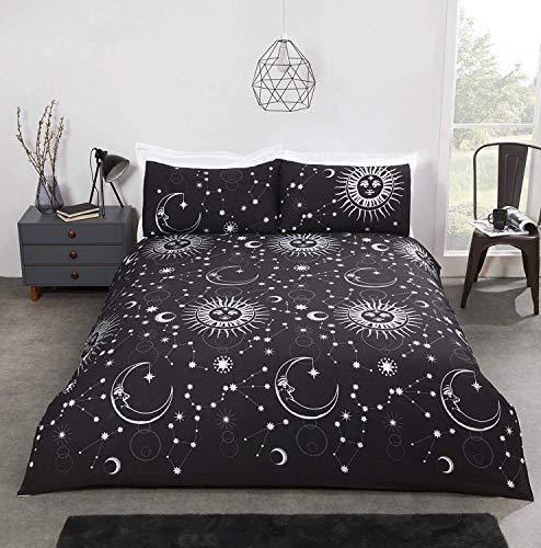 RAVALI Celestial Astronomy Moon Stars Sun Metallic Duvet Cover Set (Black & Silver, Single)