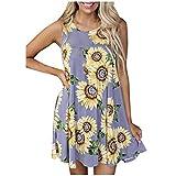 Vestidos sueltos para mujer, con estampado de girasol, sin mangas, casual, verano, mini vestido de primavera y verano, falda midi (morado, XXL)