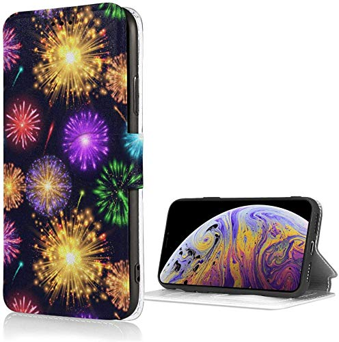 Romance-and-Beauty Estuche Fireworks Starry para iPhone X/XS Estuche con Billetera de Cuero PU de Lujo Funda con Tapa Tipo Folio con Ranuras para Tarjetas Correa de muñeca