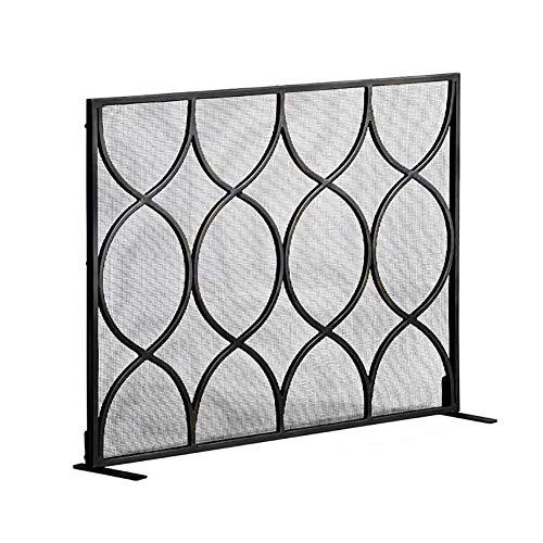 ZLI Single Panel Fireplace Fence, Black Metal Spark Flame Barrier, Extra Large Safe Spark Guard for Open Fire/Log Wood Burner (Size : 112×20×84cm)
